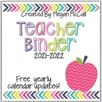 Teacher Binder 2017-2018 With Free Yearly Udates