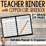 Editable Teacher Binder w/ 3rd Grade Common Core Gradebook Bundle {Free Updates}
