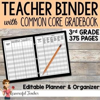 Editable Teacher Binder w/ 3rd Grade Common Core Gradebook Bundle {Free Updates}