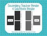 Secondary Teacher Binder 2017-2018 & Substitute Binder
