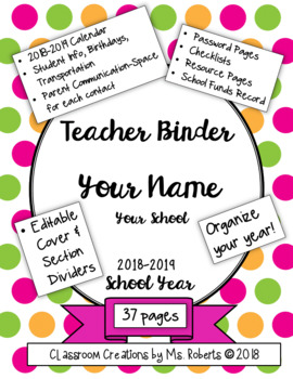 Teacher Binder 2018-2019 with Section Dividers and Useful Forms (EDITABLE pages)