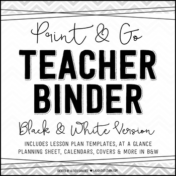Chevron Teacher Binder {Black & White}
