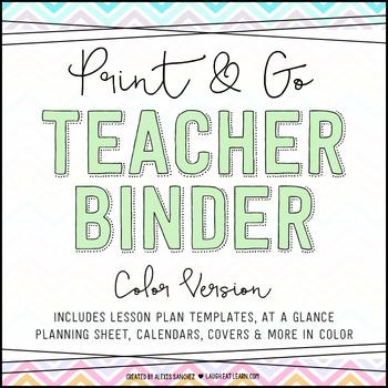 Chevron Teacher Binder {Color}