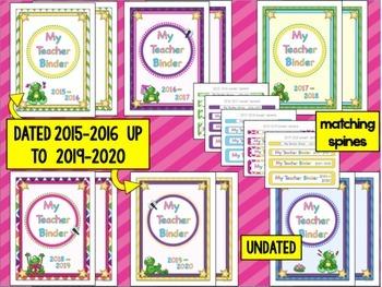 Teacher Planner 2017-2018 up to 2020 {Frog Theme} Teacher Binder PDF Print & Use