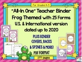 Teacher Planner 2018 up to 2020 {Frog Theme} Teacher Binder PDF Print & Use