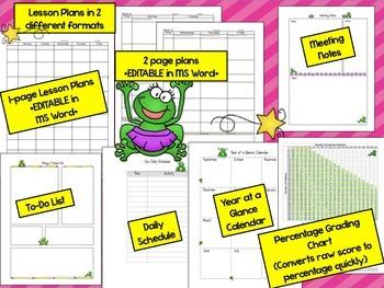 Teacher Planner 2018 up to 2020 {Frog Theme} Teacher Binder PDF Print & Use