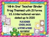 Teacher Planner 2017-2018 up to 2020 {Frog Theme} Teacher