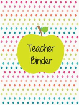 Teacher Binder- Apple Dots
