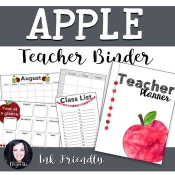 Teacher Binder Apple Themed