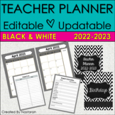 Teacher Planner 2019-2020 - Chevron Teacher Binder 2019-2020 Black and White