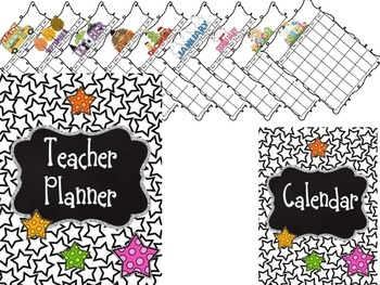 Editable Teacher Binder {Black & White Stars}