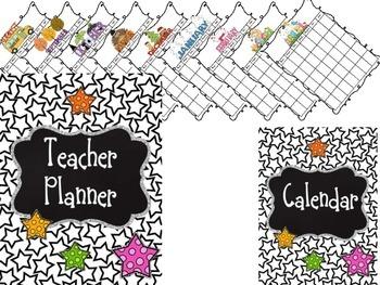 Editable Teacher Binder {Black and White Stars}