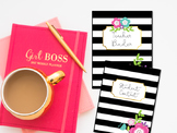 Teacher Binder- Black and White Stripe with Floral