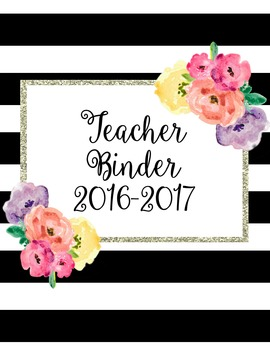 Black, White and Watercolor Teacher Binder