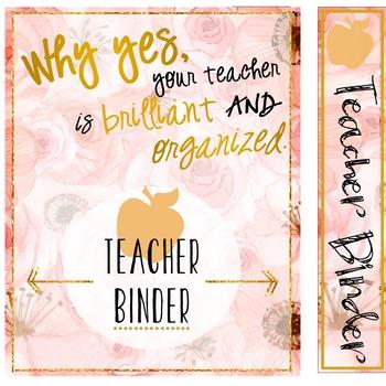 Teacher Binder (Editable) 2018-2019 Floral
