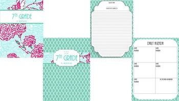 Teacher Binder Bundle 1- Pink, Aqua, and Yellow
