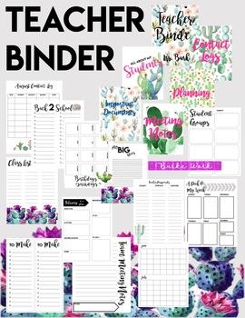 Teacher Binder: Cactus Watercolor Edition