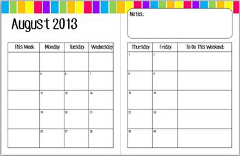 Teacher Binder Calendar