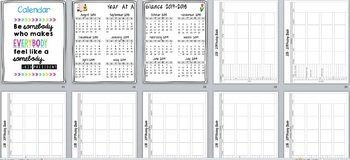 Teacher Binder/Calendar/Grade Book - Includes yearly updates!