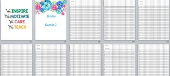 Teacher Binder/Calendar/Grade Book - Includes FREE yearly updates!