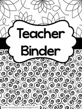 Teacher Binder - Calendar, Planners, Forms - Black and White