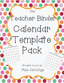 Teacher Binder Calendar Templates