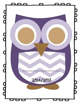 Teacher Binder - Chevron Owl Theme