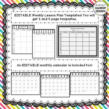Teacher Binder Click & Type Black & White Theme- 200+ EDITABLE pages!