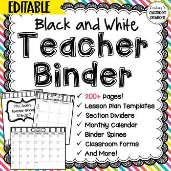 Teacher Binder Click & Type Black & White Theme- 200+ EDIT