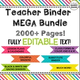 Teacher Binder  & Substitute Binder Mega Bundle!! EDITABLE!!!! 1000+ Pages!