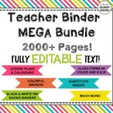 Teacher Binder  & Substitute Binder Mega Bundle!! EDITABLE!