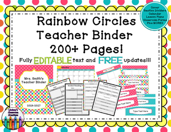 Teacher Binder Click & Type Rainbow Circles Theme- 200+ ED