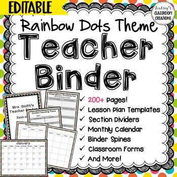 Teacher Binder Click & Type Rainbow Dots Theme- 200+ EDITABLE pages!