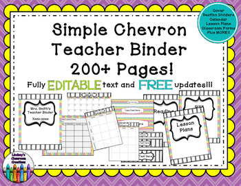 Teacher Binder Click & Type Simple Chevron - 200+ EDITABLE pages!