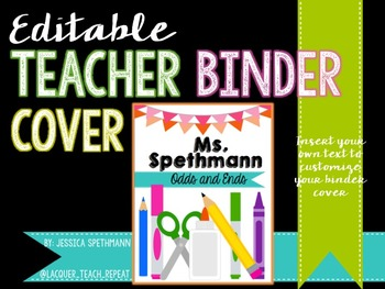 Teacher Binder Cover - Editable