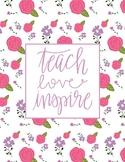 Teacher Binder Cover Floral Print