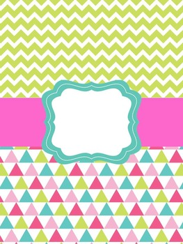 Teacher Binder Cover Pages Pink, Blue & Lime Green