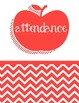 Teacher Binder Cover Red Apple and Chevron Theme