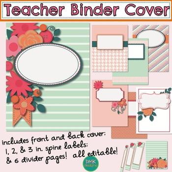 Teacher Binder Cover, Spine Label, and Divider Pages
