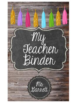 Editable Teacher Binder Cover (Wood, Chalkboard, and Tassels)