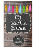 Editable Teacher Binder Cover (Wood, Chalkboard, and Tassels)