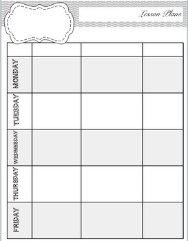Teacher Binder: Cover and important pages for organization
