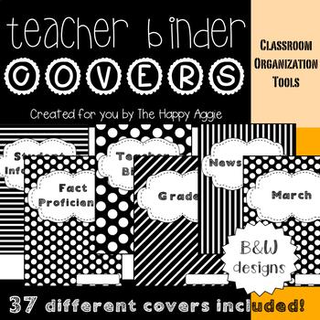 Teacher Binder: Covers (B&W)
