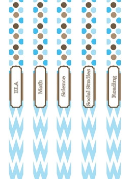 Teacher Binder Covers (Editable): Blue and Brown Dots and Chevron Theme