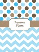 Teacher Binder Covers (Editable): Blue and Brown Dots and