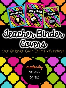 Teacher Binder Covers (Bright on Black) (Over 60 Choices!)