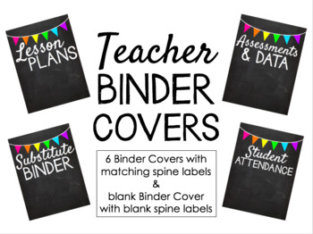 Teacher Binder Covers - Chalkboard Brights