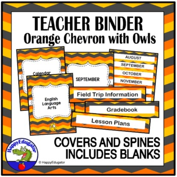 Teacher Binder Covers - Chevron and Owl Theme EDITABLE