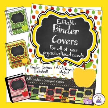 Teacher Binder Covers - Editable - Apples theme