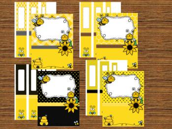 Teacher Binder Covers - Editable - Bee Theme